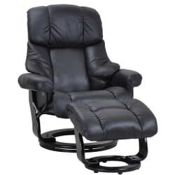 Crown Lænestol med skammel Læder - sort