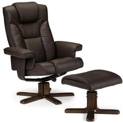 BORNEO lænestol med skammel mørkebrun